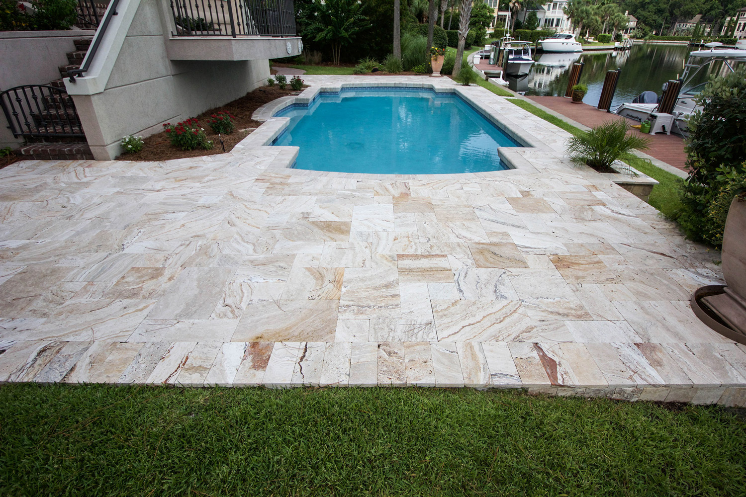 Stone Pool Deck Installation Hilton Head Island SC