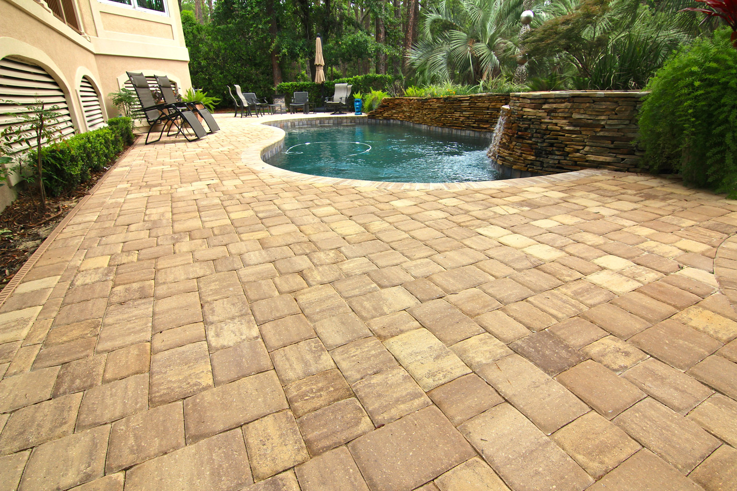 Backyard Pool Deck Paver Installation Hilton Head Island SC