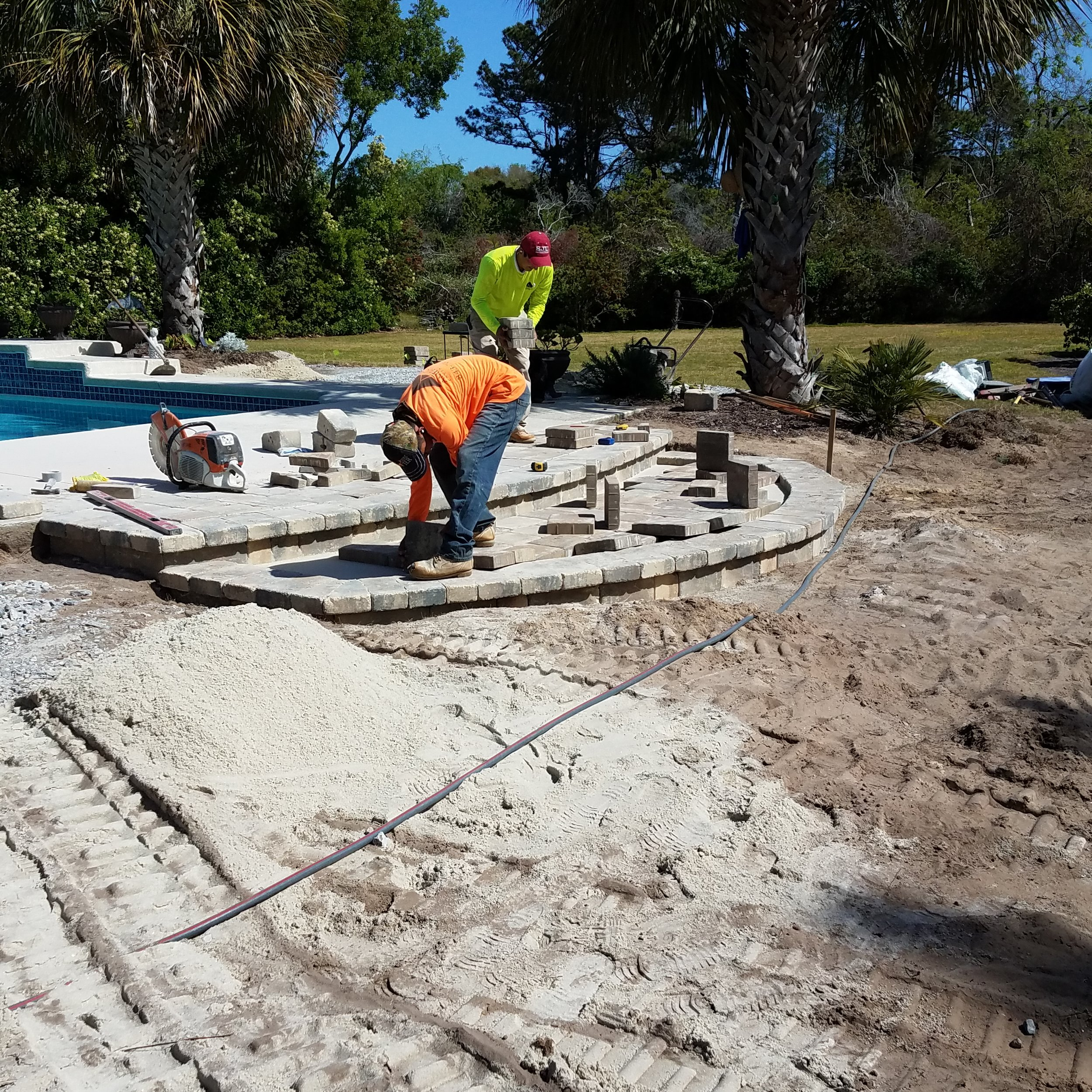 installing pool deck paver materials