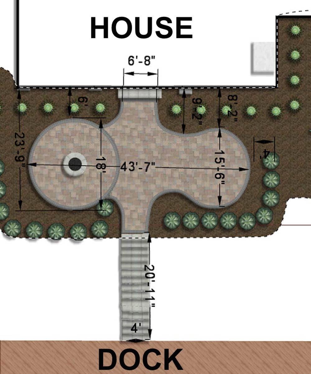 Plan showing the new paved area leading to the dock.