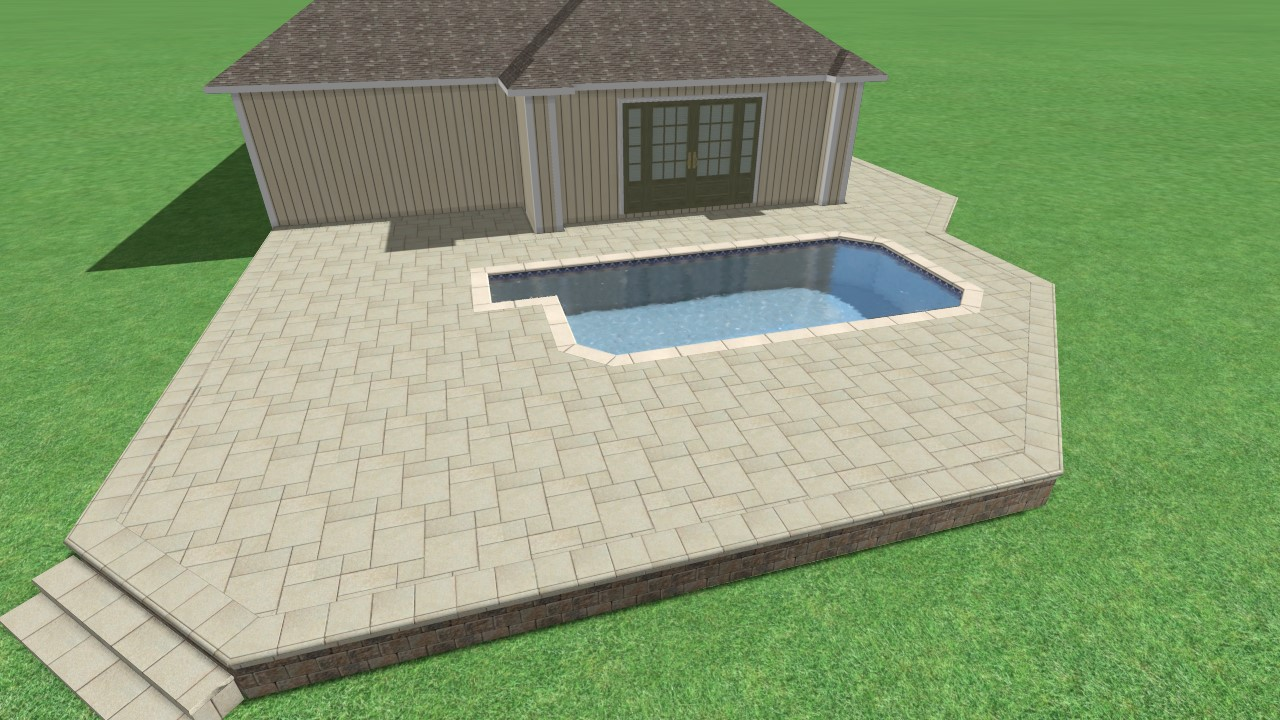The image above is a 3D rendering of this clients new paver pool deck remodel. She was able to review and approve this design before we started her project!