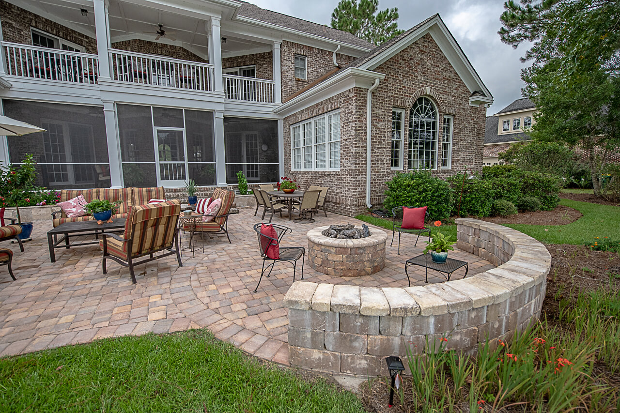 Designed Gas Installed Fire Pit with Coping - Savannah, GA