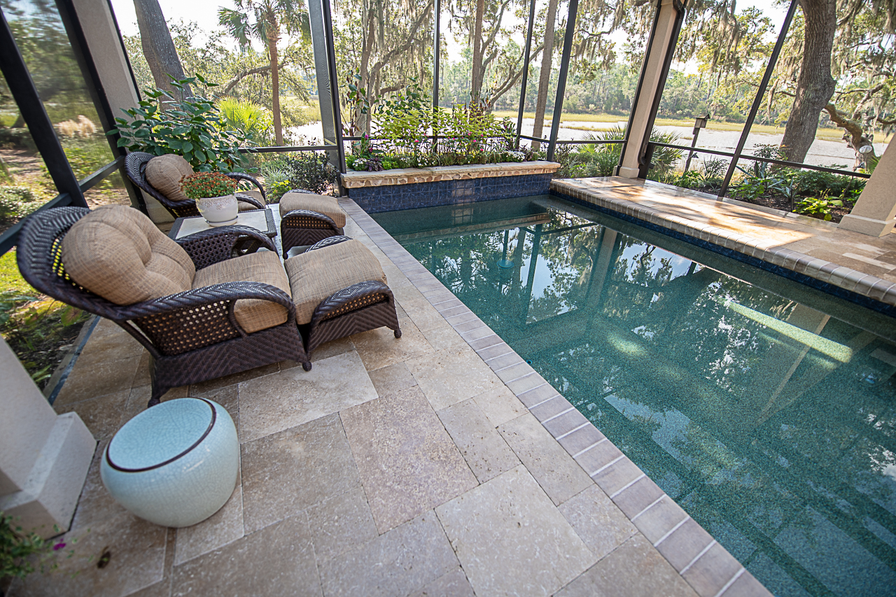 Travertine Pool Deck -