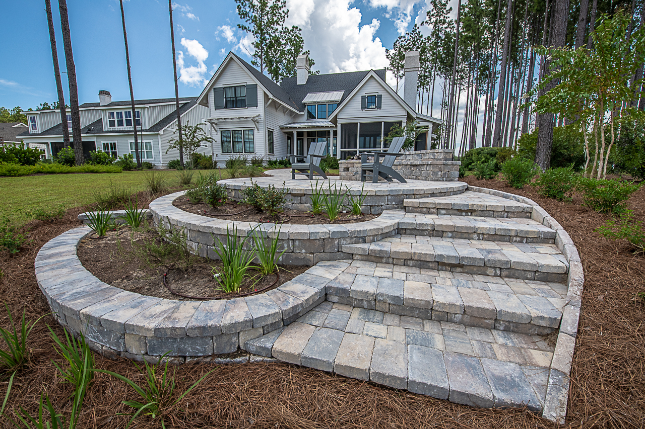 Raised Paver Patio Installation with Gas Fire Pit - Bluffton, SC