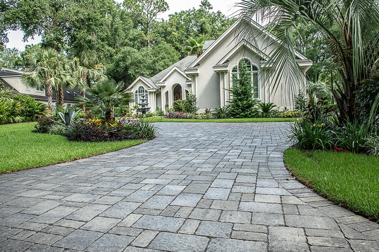 Recently Tumbled Brick Paver Driveway on Hilton Head Island, SC Paver Driveway.  This  Tumbled   Brick Paver Driveway  is exquisite. Using  Tremron's 3pc, Grande Slate paver , this home will surely be the talk of the neighborhood. We can totally see why, can't you! Need  a Paver Driveway  at your home?  Contact, American Paving Design!