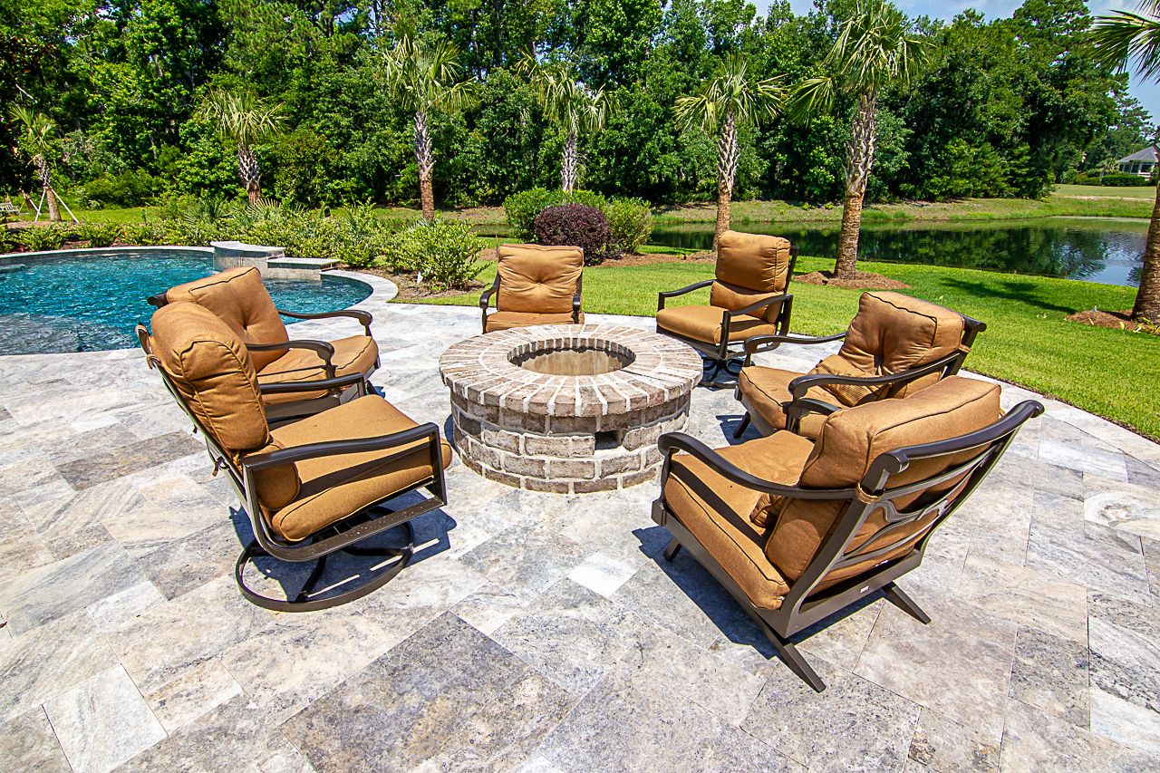 Silver Travertine Pool Deck Patio Space Design On Hilton Head Island, SC