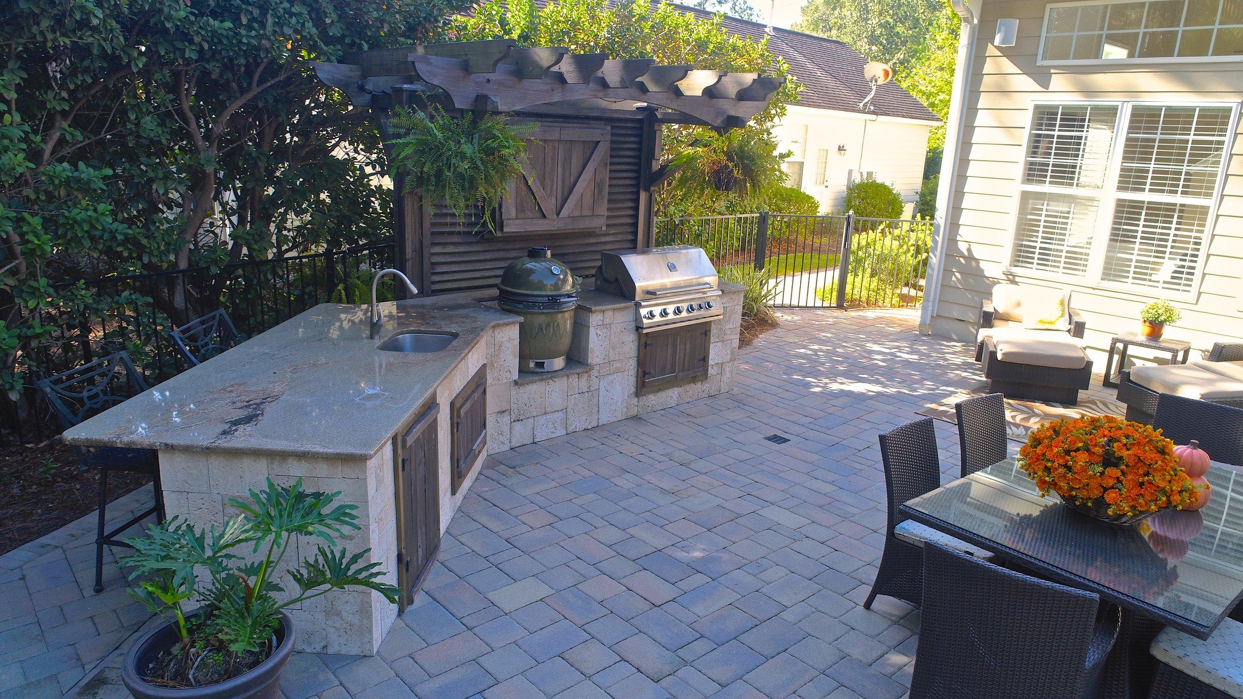 Custom Stone Built Outdoor Kitchen