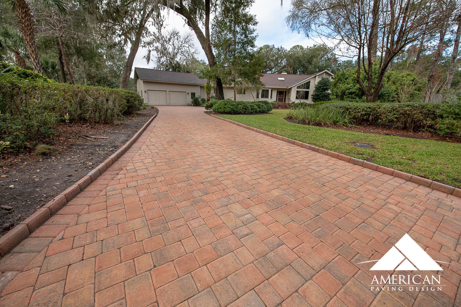 Red Brick Paver Driveway Design
