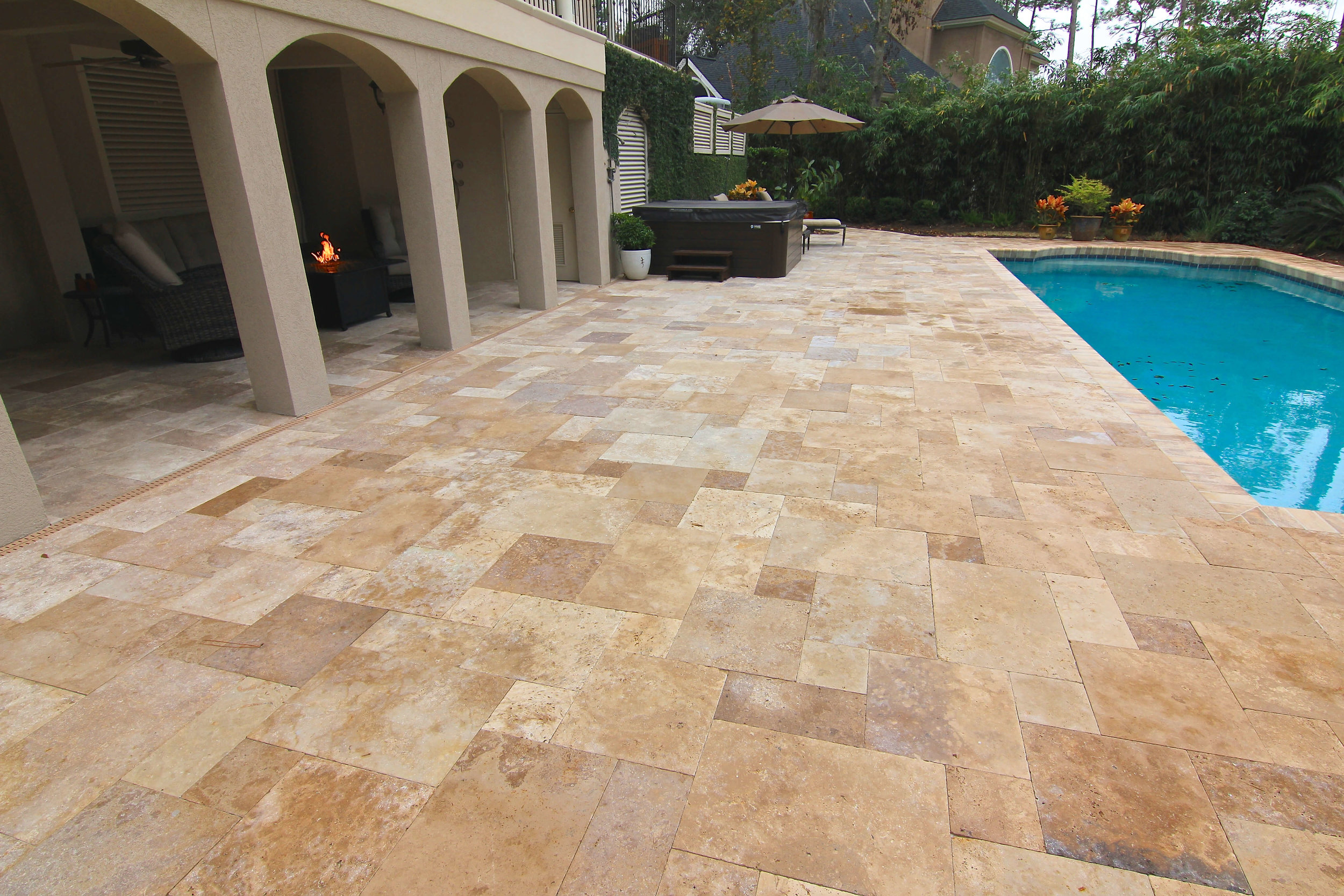 Travertine Pool Deck Installation