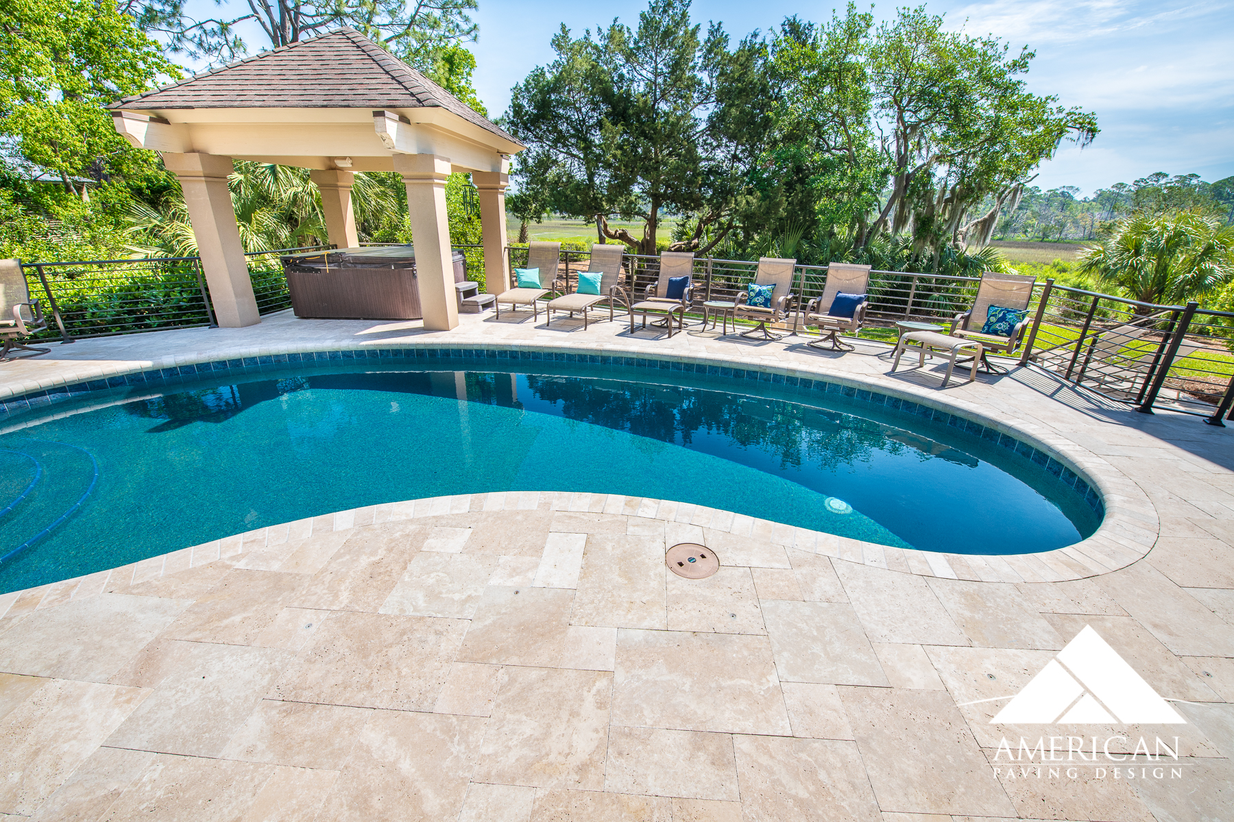 Travertine  is weighty slabs of tiles that can be cut into different shapes and sizes to add a touch of elegance, and style to your patio or pool deck