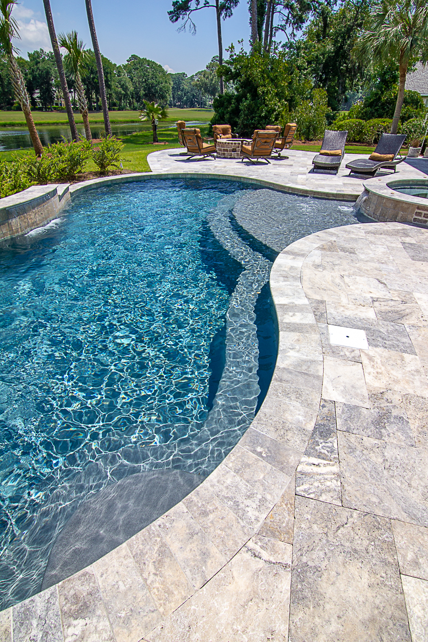 Silver Travertine Pool Deck Coping Ideas