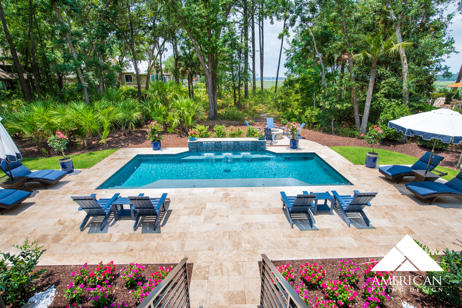 Looking to create an oasis in your backyard? Remodeling your pool deck with Travertine will make you feel like your on an island all year around!