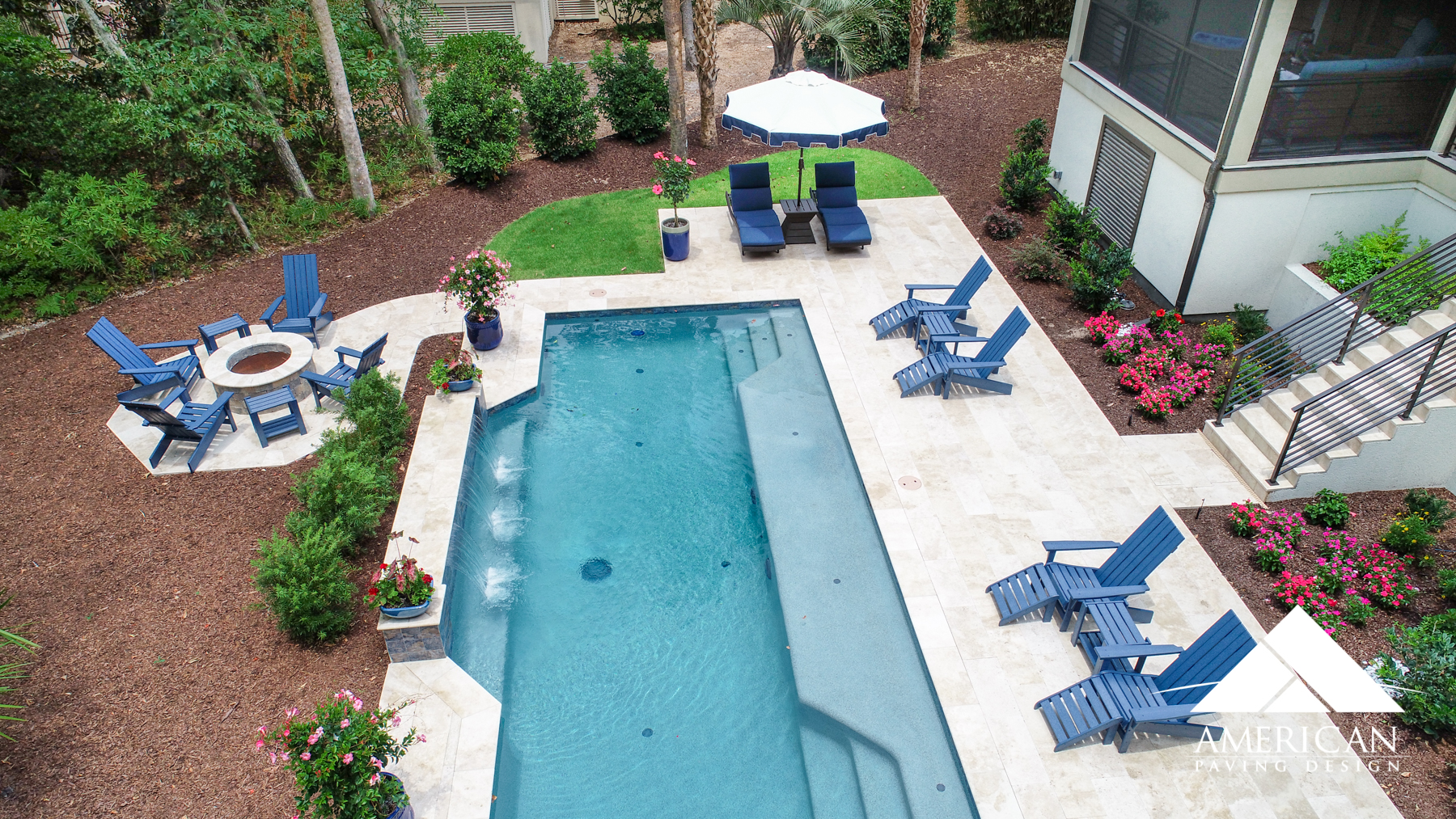 Travertine  pool decks are gorgeous. This natural stone pool deck material will cost you approx. $18-22 a sq ft, depending on size and color options.