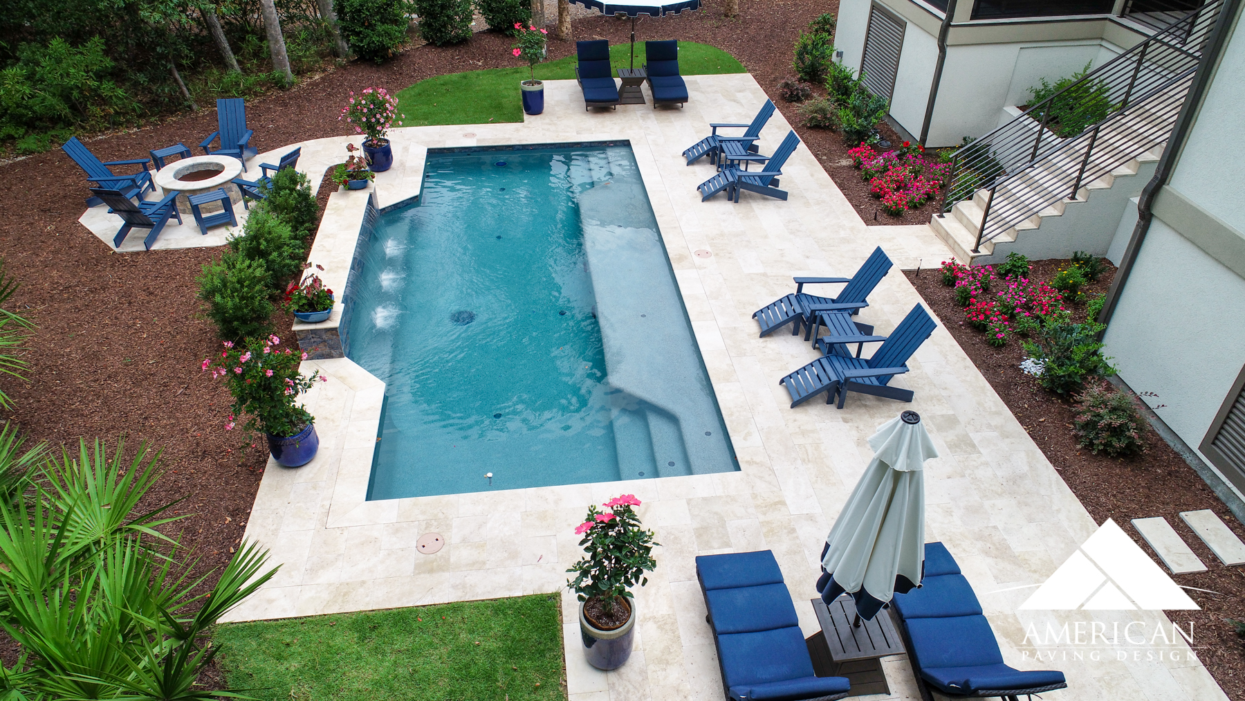 Travertine Installation  - Travertine is the perfect, natural stone for any pool deck remodel. It's non-slip surface makes it easy to entertain on!