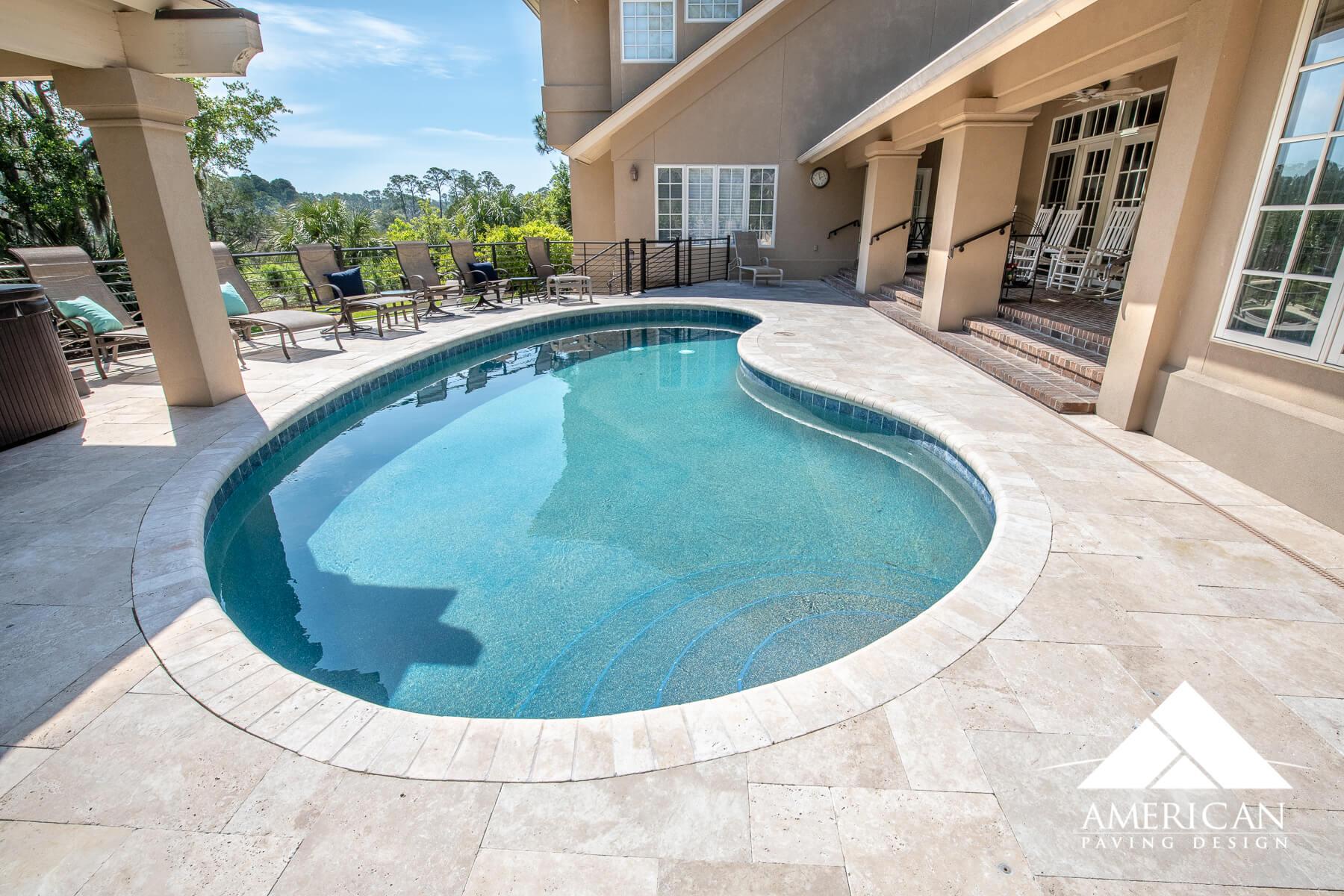 Pool Deck Travertine - Savannah, GA