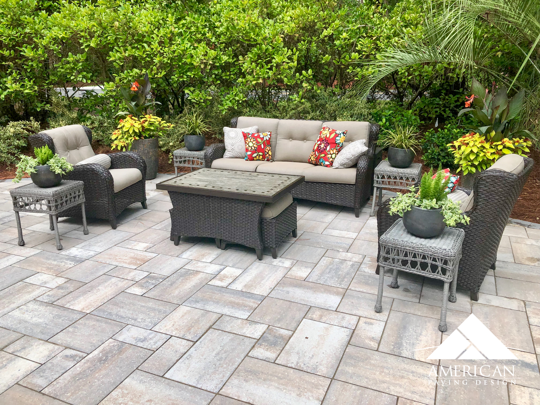 Textured pavers are perfect for making that small patio feel larger! These unique paving stones are not only cool in style but perfect natural color tones!