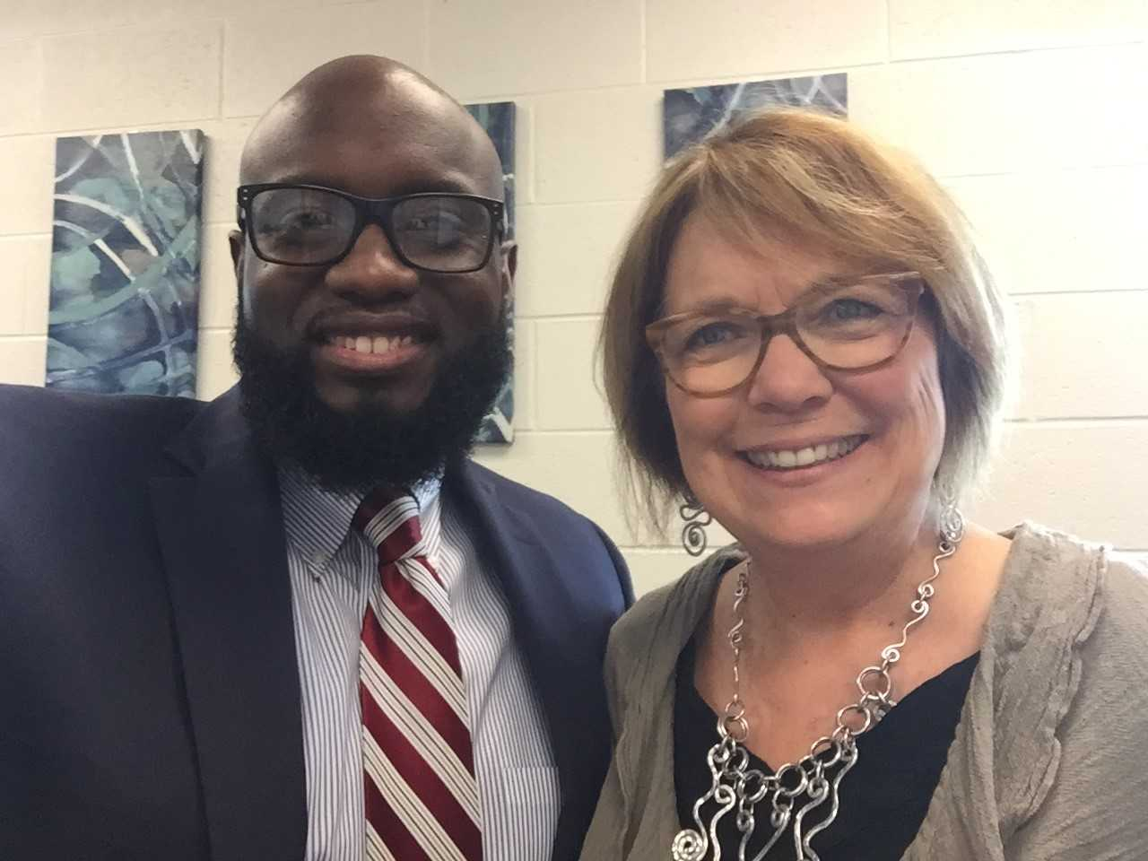 A Photo With Principal Goodman And His Focused Schools Coach, Kathy Crum