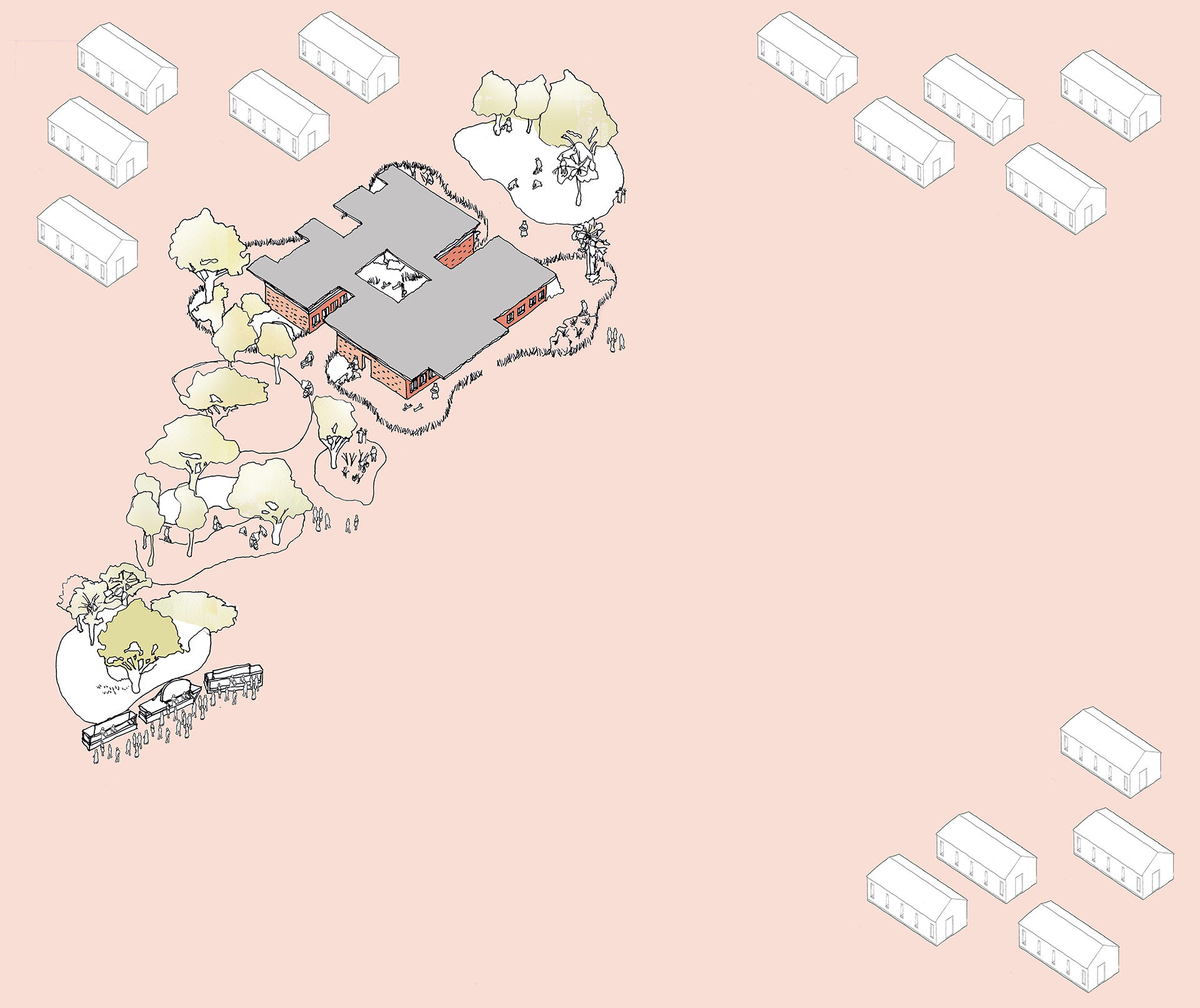 5 year plan Axonometric sketch of Modular School Concept