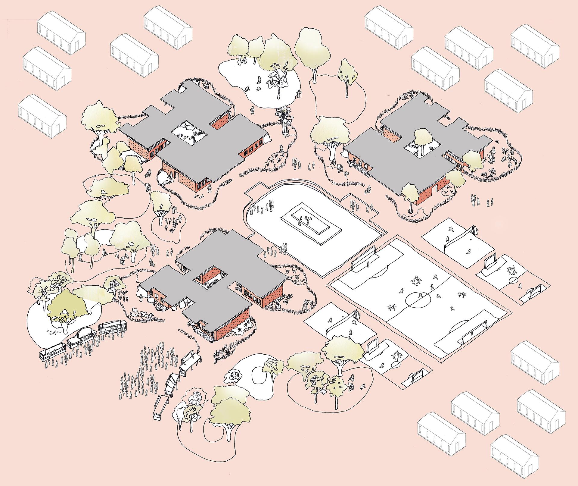 15 year plan Axonometric sketch of Modular School Concept