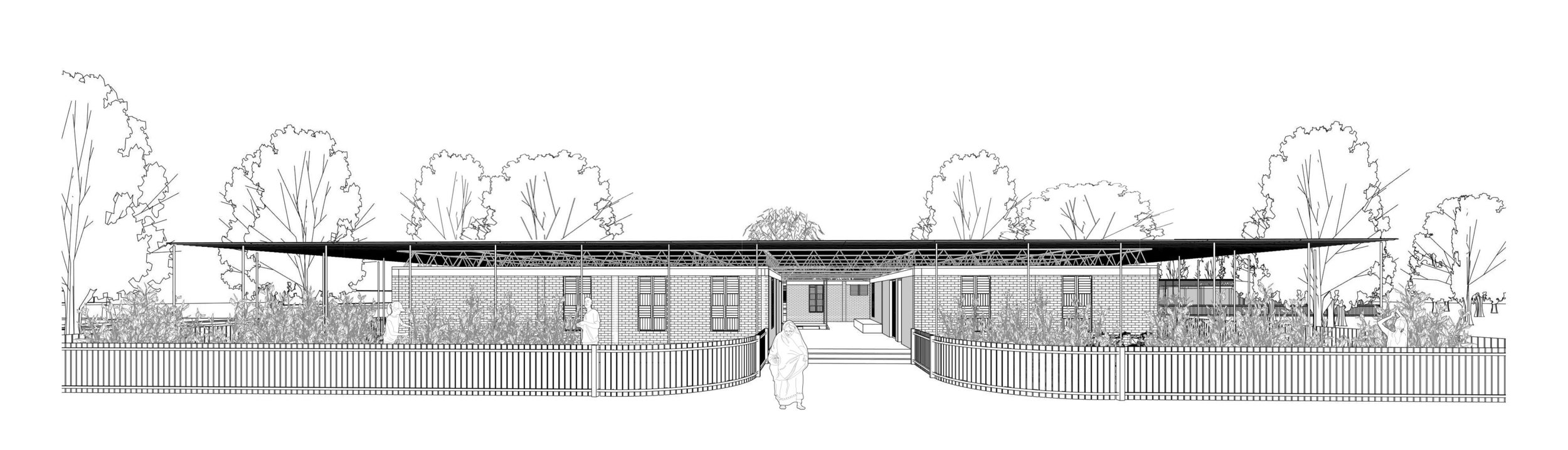 Planning Level information - Proposed perspective view of the Modular School entrance