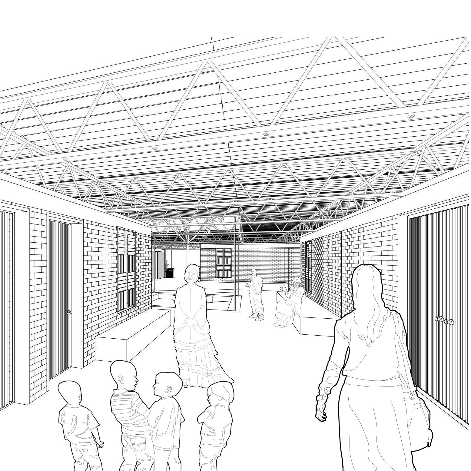 Planning Level information - Proposed corridor view of the Modular School entrance
