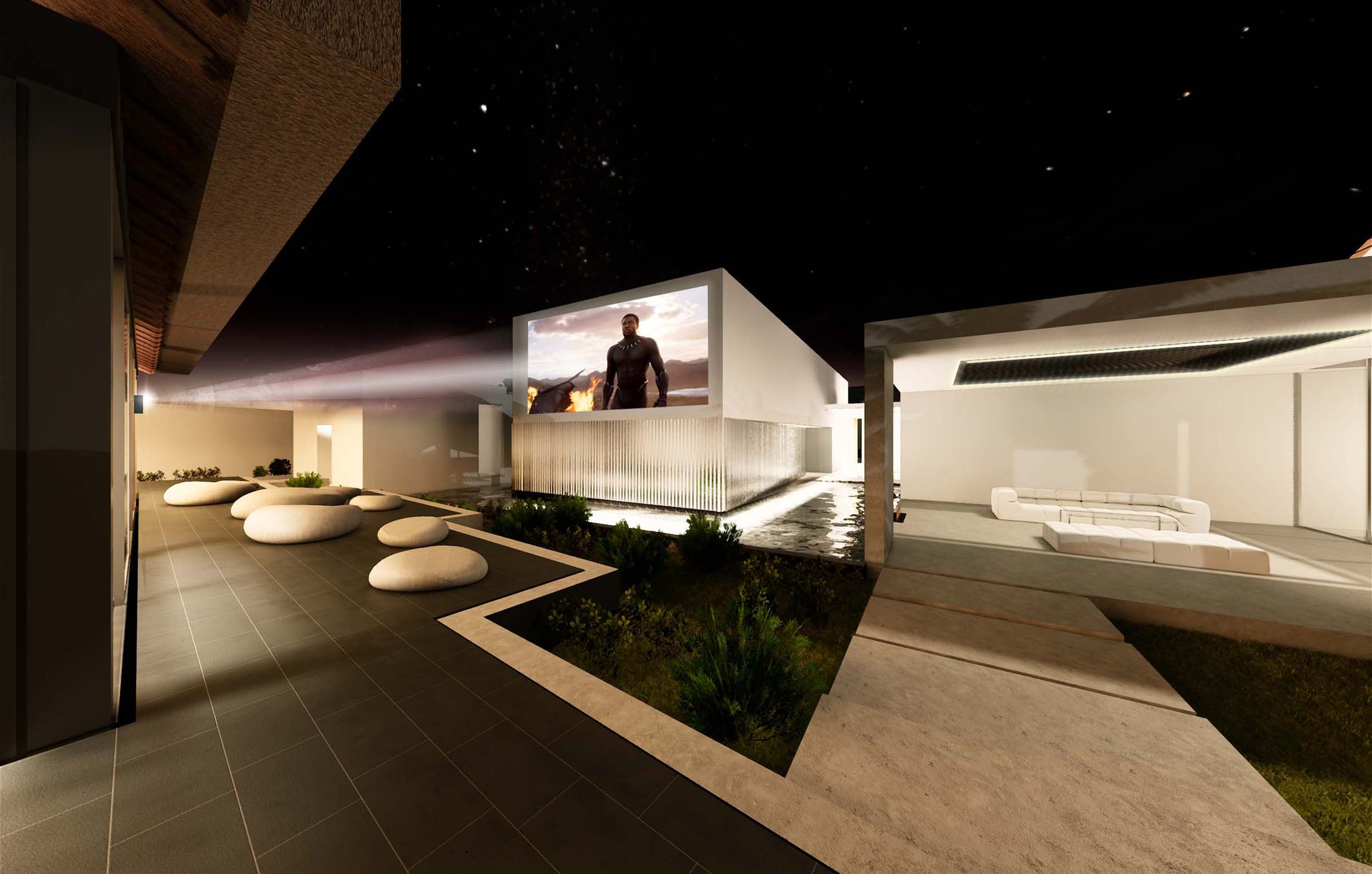 Villa Tatu nighttime external front CGI of cinema by 3bd Architects.jpg