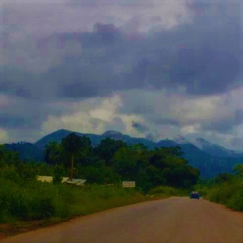 Ondo State. Road leading to Idanre town. Definitely a cloud shrouded peak