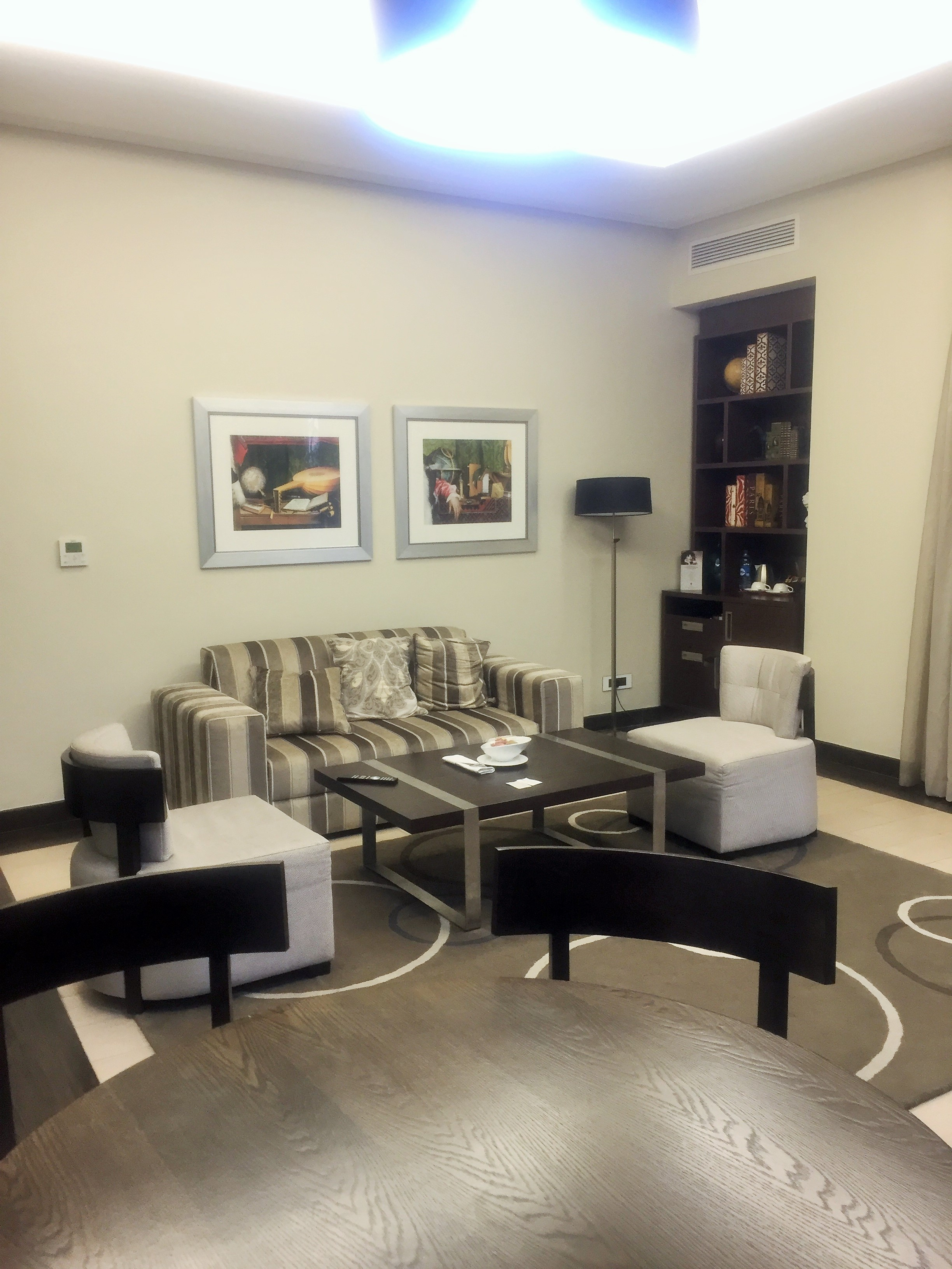 The living room of the 2-bedroom penthouse suite