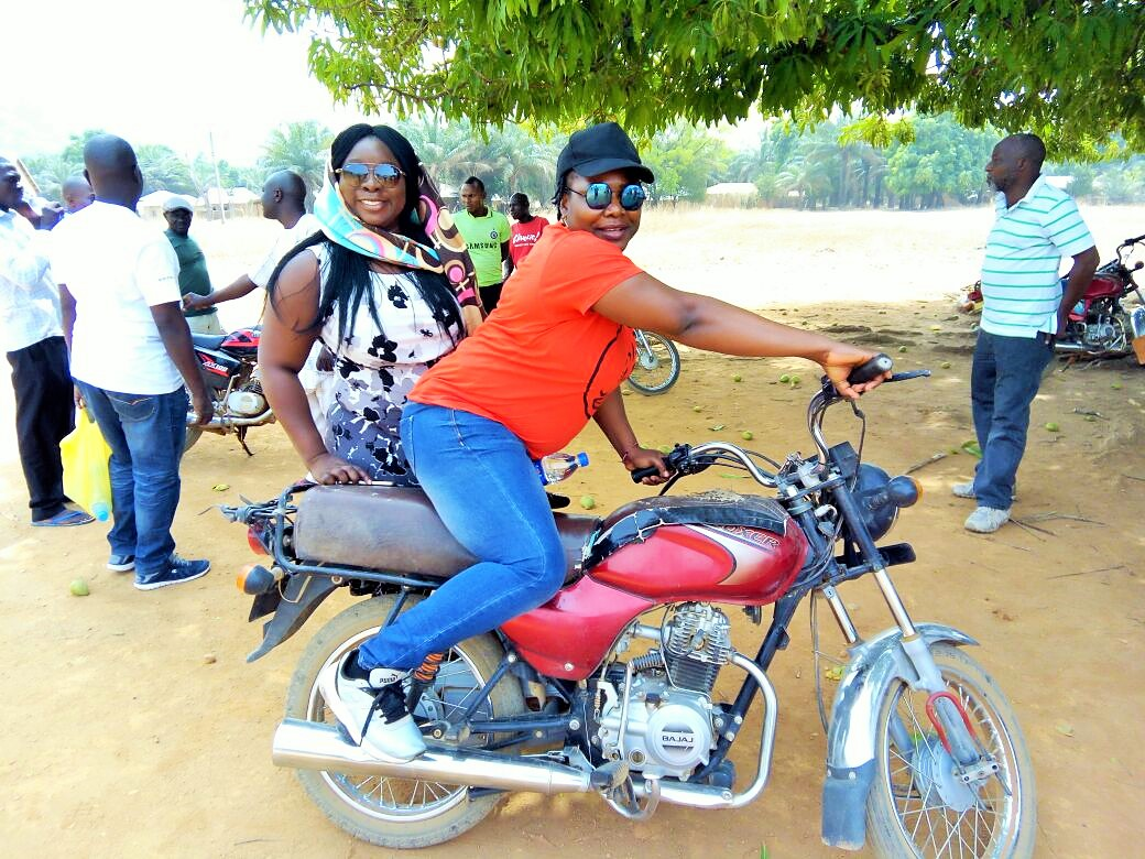 After what seemed like an endless journey from Mama community, we arrived at Massange. We were compelled to park and continue the journey on motor bikes, crossing streams in the forests.