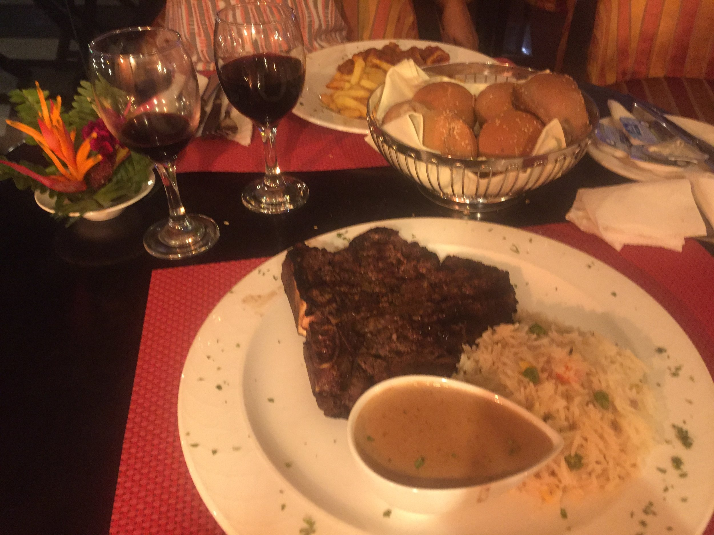 Dinner. I had Moorhouse's special for the evening; Steak and Basmati rice. It was sooo yummy.