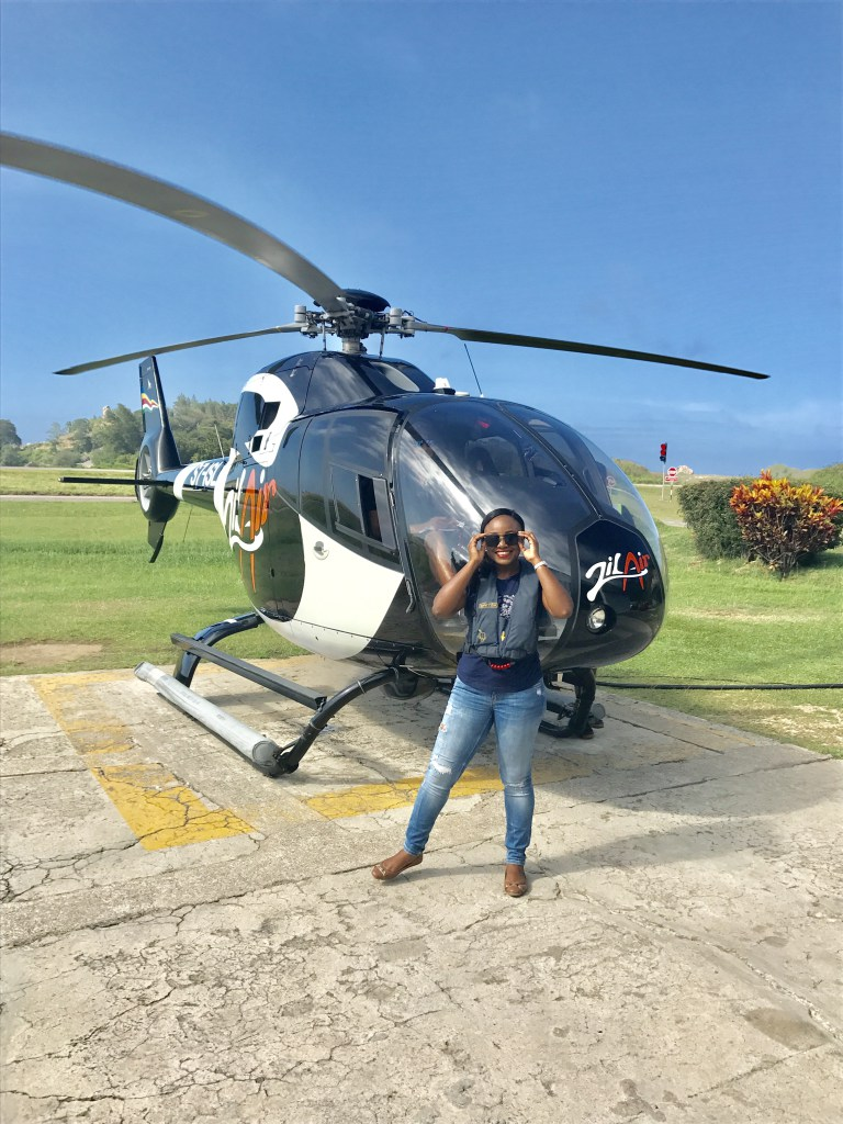 Helicopter ride in Seychelles