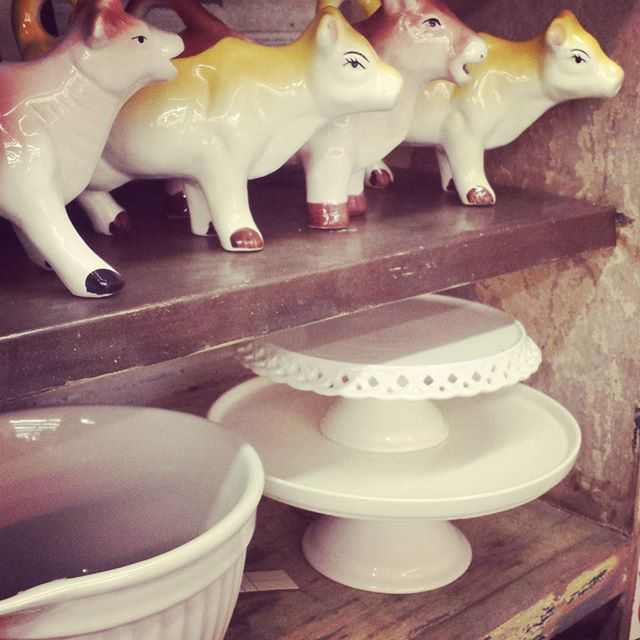 Going vintage: cow creamers, lovely cake plates, and batter bowls for all you bakers out there.  #friendswoodhardware #thebighammer #shopsmall #shoplocal #friendswood #pearland #houston #tx #retro #vintage #unique #bake #baking