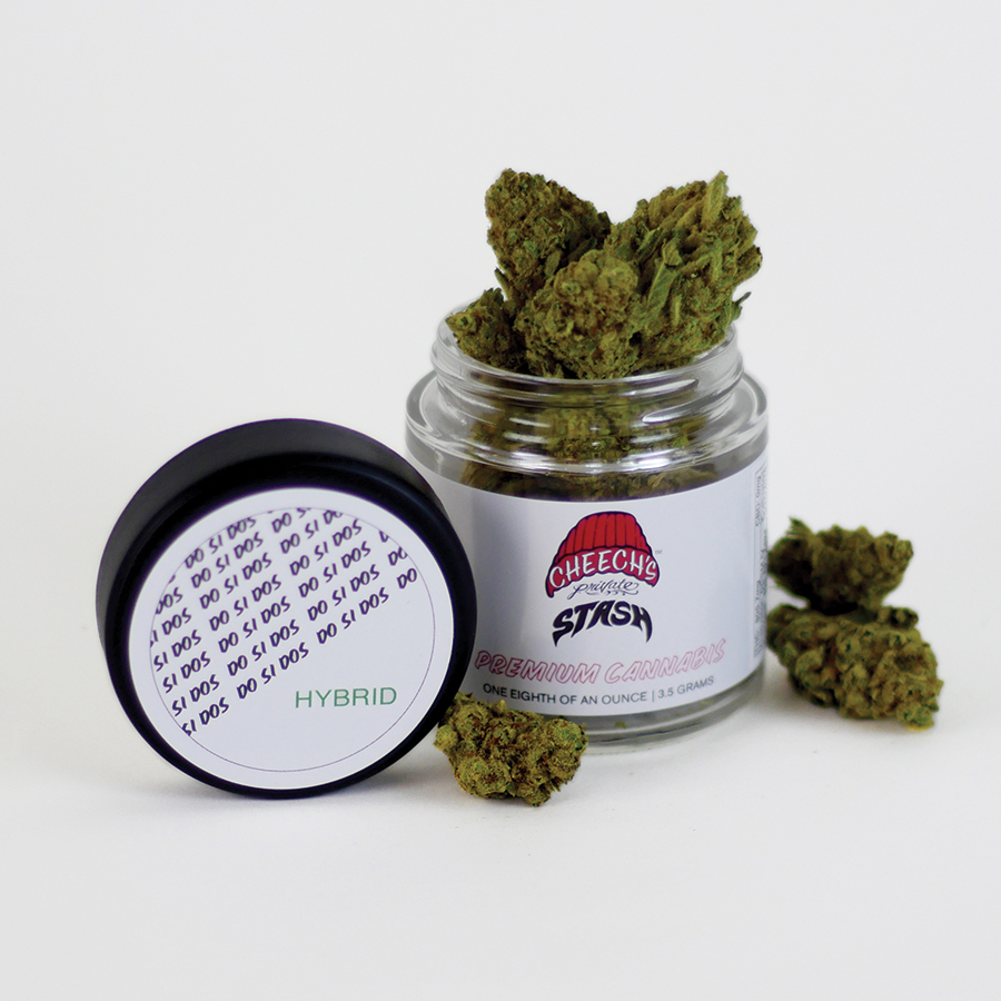 DO SI DOS / hybrid - These dense buds tout an impressive color scheme of dark purple leaves, bright orange pistils and layers of trichomes that saturate the flower from stem to surface. A strong earthy aroma from the Face Off OG parent stands out in front of a sour-piney finish. A slight minty afterthought is noticeable upon exhalation from the parental Thin Mint GSC. The smooth yet powerful smoke tastes like and earthy-pine with a noticeable mint aftertaste. An initial wave of body-numbing relaxation paves the way for a happily dazed experience. Increased blood flow makes this strain useful for post-exercise soreness due to it's anti-inflammatory terpene profile qualities.