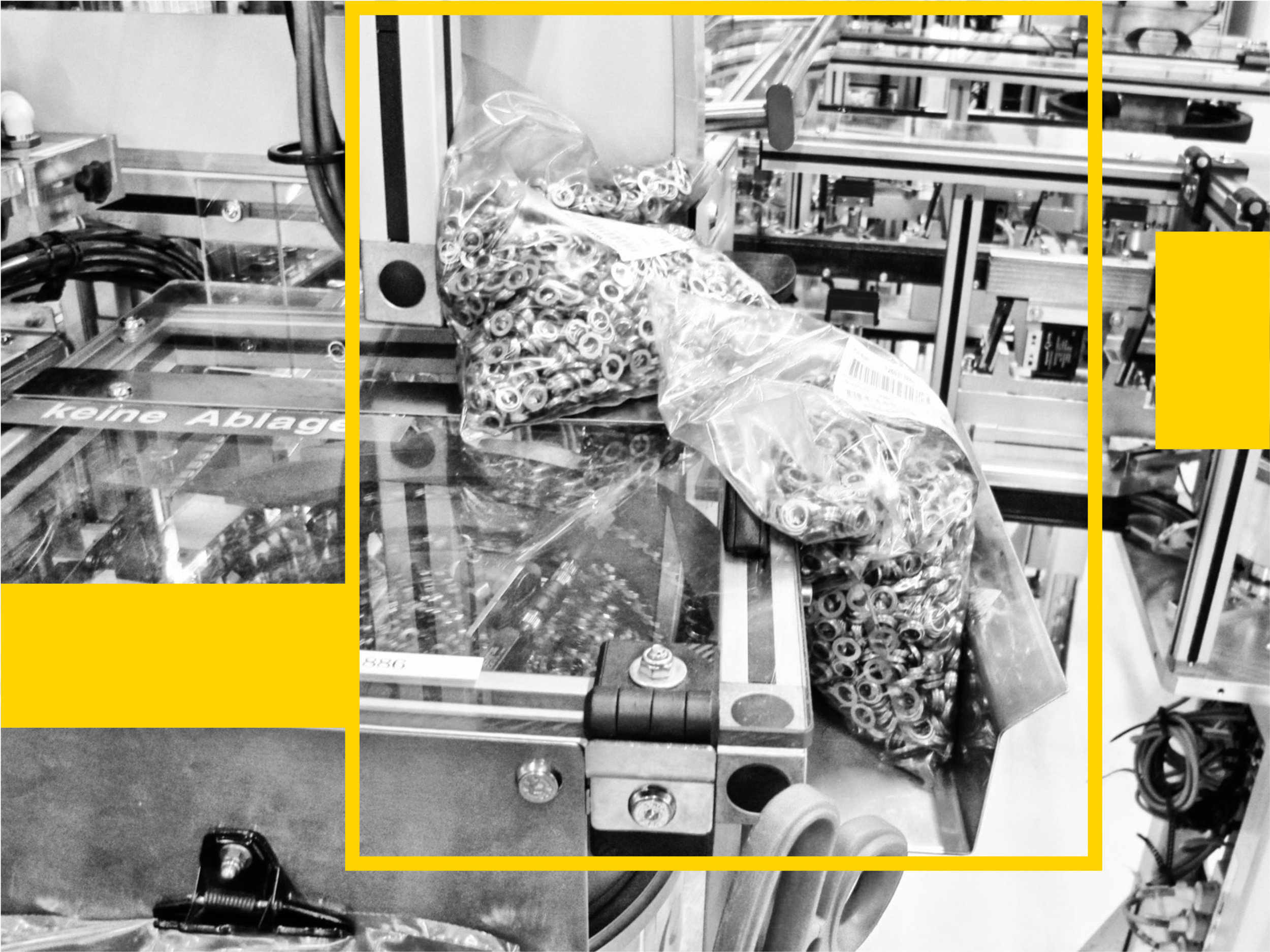 Due to imprecision in the planning process and calculation of time needed to retrieve material, staff deposited extra material directly on the machine. Such little workarounds illustrate how shopfloor staff keeps the production running despite imperfect data.