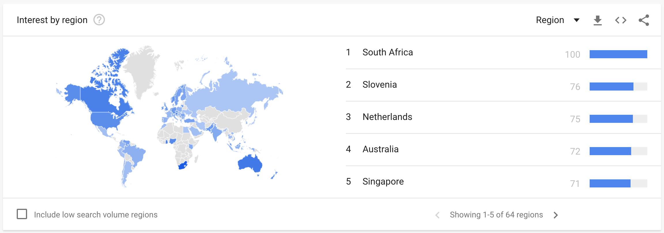 Interest by region for Google Queries of Bitcoin, from Google Trends.