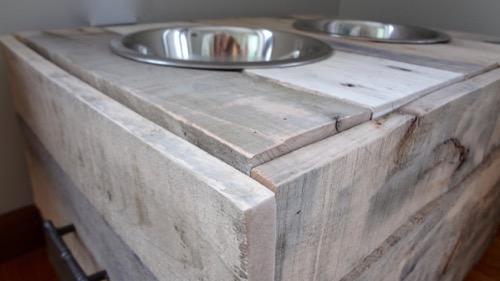 Rustic Dog Bowl Stand Food Storage 1