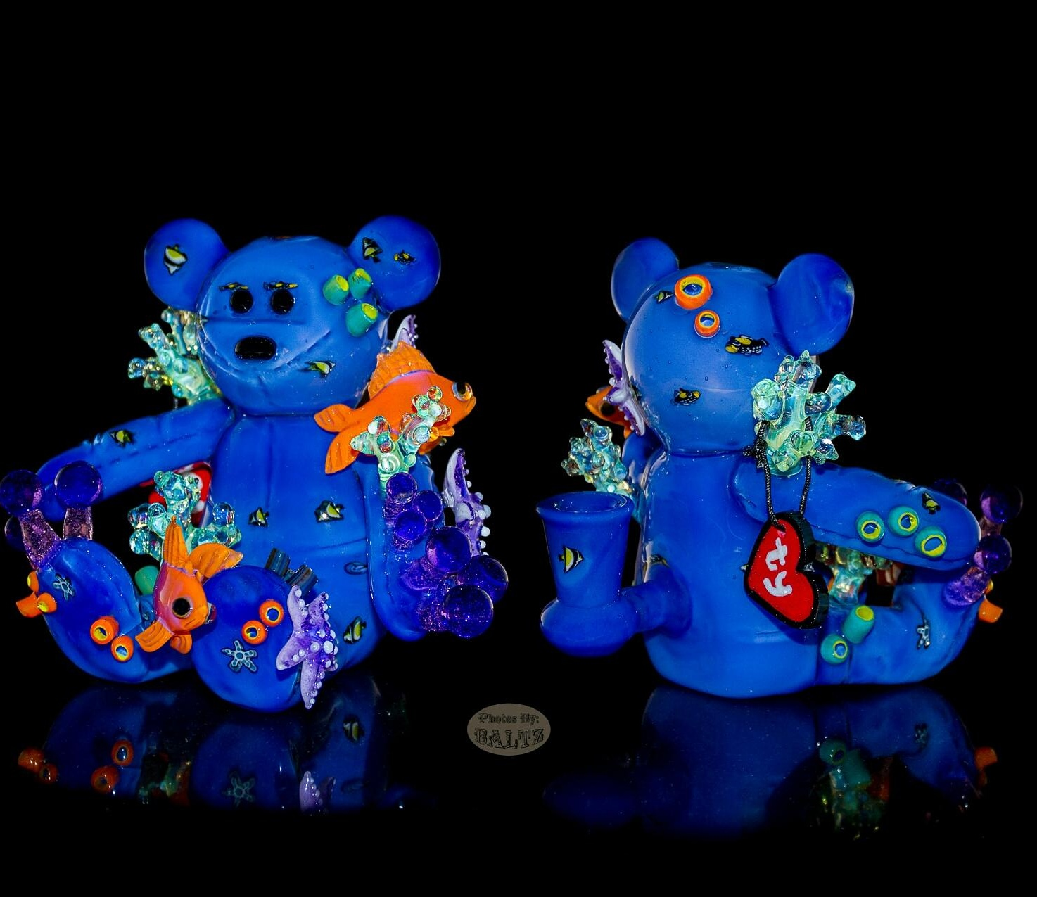 Glasshopper: Aquatic Beanie Bear - I stayed at Robert's place in New Jersey and we had a blast making this piece. He explores a wide swath of nature themes in his milli work and went the extra mile with the use of his fish milli on the body of the bear. I sculpted the anthias and starfish as well as some slyme coral. It was great to be a collaborator on the bear series that robert has been building. Photo by Chris Baltz.