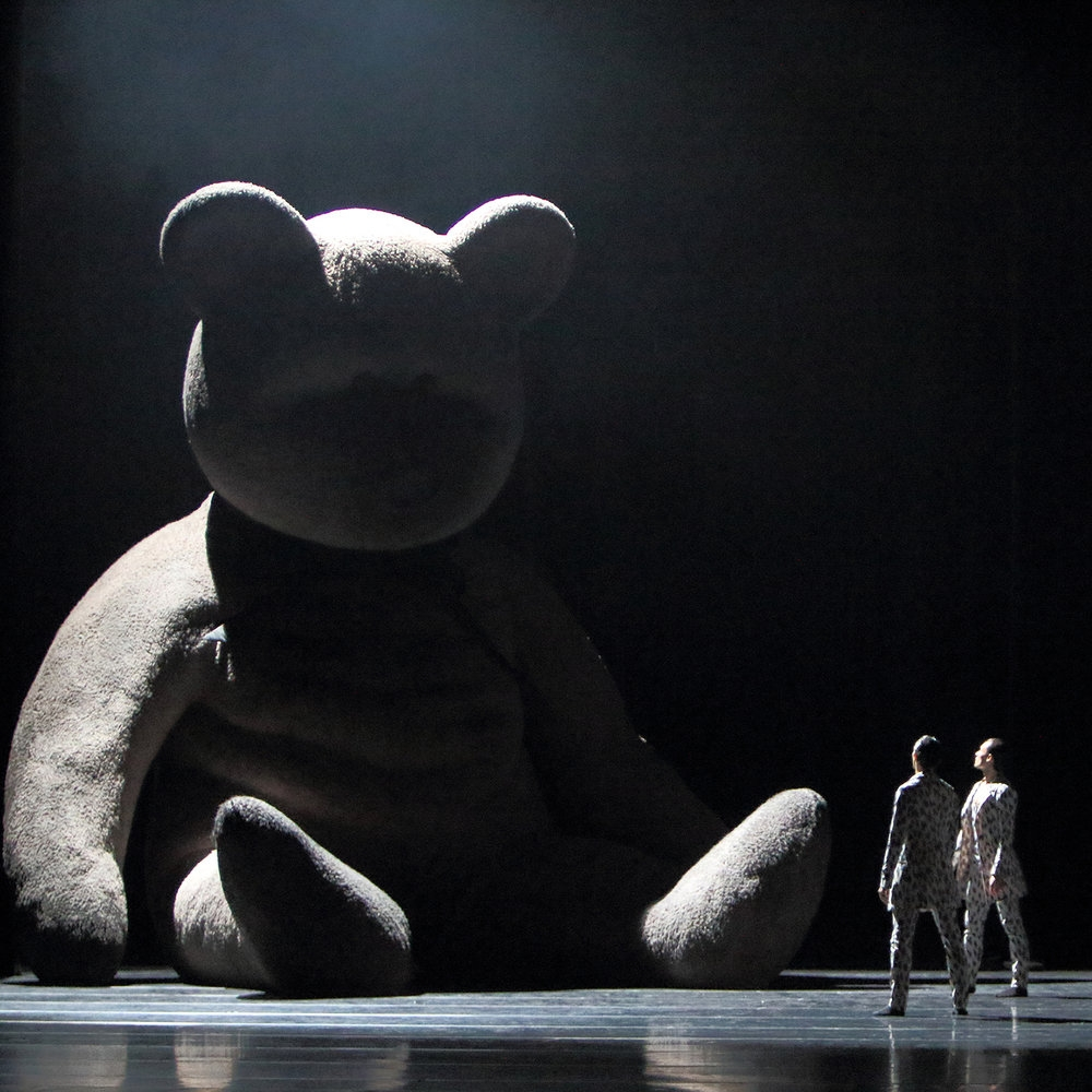 "The giant teddy bear from the set of the ballet ""Adam Is"", commissioned by the Bavarian State Ballet in Munich, choreographed by Aszure Barton, set design by Burke Brown, with original score by Curtis Macdonald."