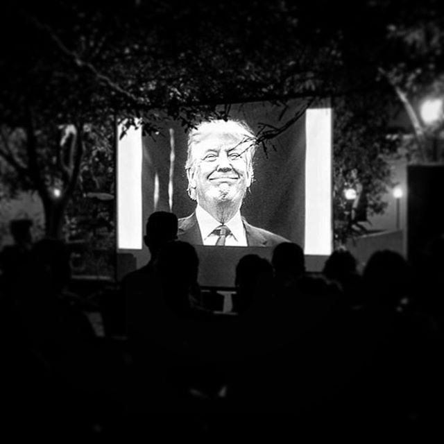 End of history hopefully tonight #🇺🇸 Here is @markpetersonpixs brilliant  #PoliticalTheatre timely projected to #PVCHR Dalit rights grass roots human rights activist audience curated by the wonderful @amykpereira. We are very grateful to be able to show the work in a very HINDU land!  And sincerely hoping this smile will never be seen again. But we 🇮🇳 do heart the work and can't wait for the book!  GO AMERICA VOTE!!!! @msnbcphoto #JAPF #GrassRoots #AmericanElections #PostModern #USA #Trump #India  #AudienceEngagement #Politics #IAmWithHer Thank you our sponsors @capco_global @epsonindia @linccup