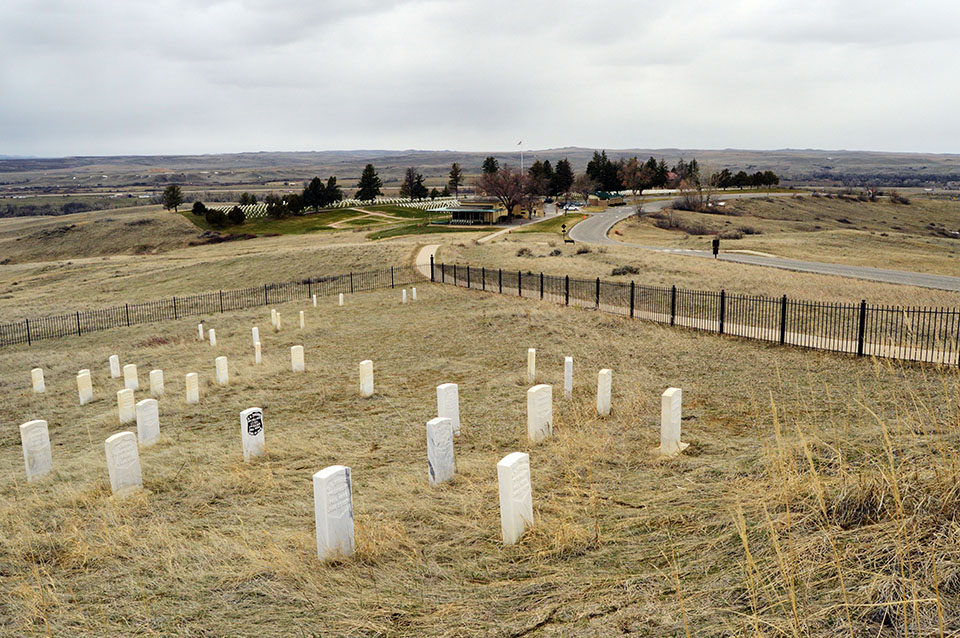 White markers designating where General Custer's soldiers fell.