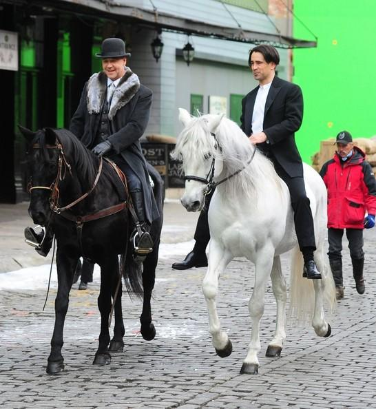 "Russell Crowe and Colin Farrell from the film ""A Winter's Tale"" — photo courtesy Horses Daily  (The white horse? That's Elise's former Horse of a Lifetime, Novelisto — a phenomenally sweet, talented, and loving Andalusian stallion)"