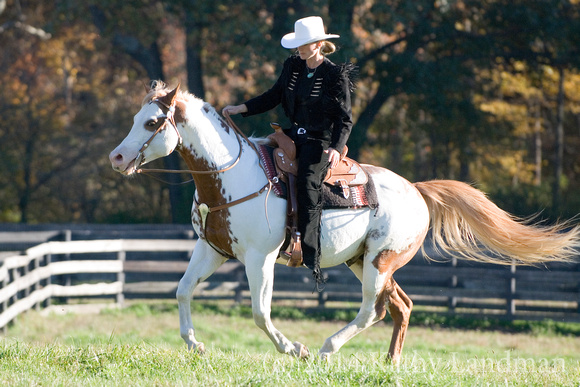 "Cari riding the star of ""Hidalgo,"" RJ Masterbug. Photo by Kathy Landman"