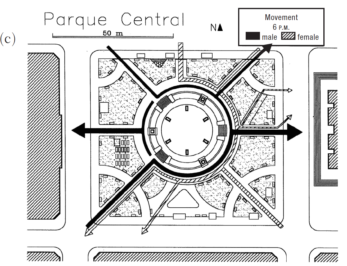 One example of a subjective movement map demonstrating  differences in usage of a public park along gender lines.  Low, S. (2014). Space and Embodiment in the City. In A. Sen & L. Silverman (Eds.),  Making Place : Indiana University Press .