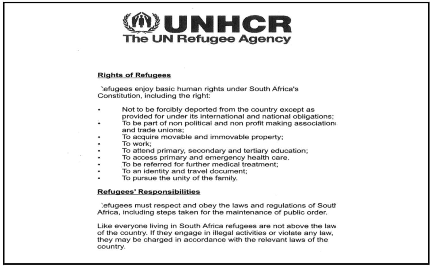 Cape Town — Refugees in Towns