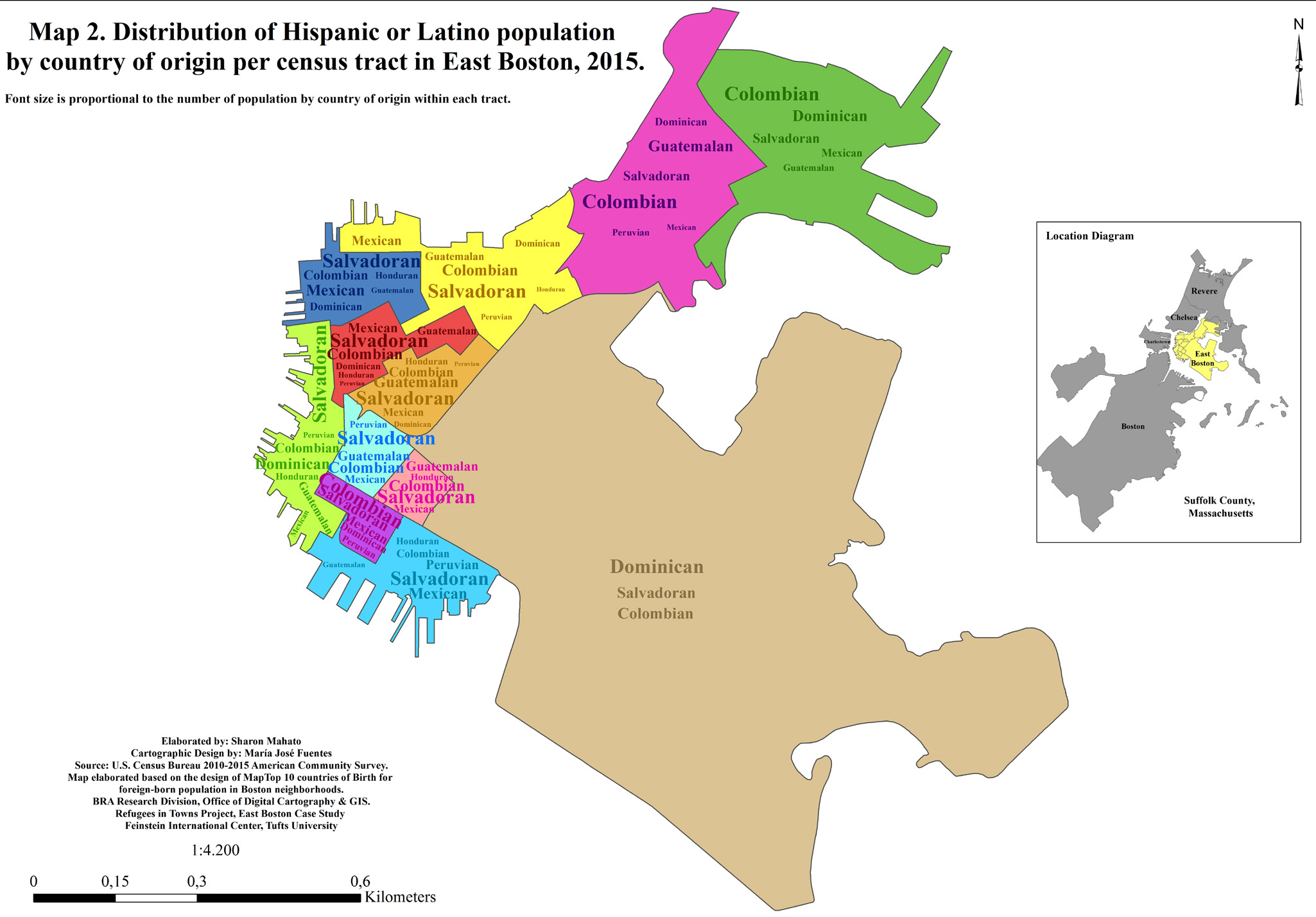 Distribution of Hispanic or Latino population by country of origin per census tract in East Boston, 2015. Map by author. Data from U.S. Census Bureau.