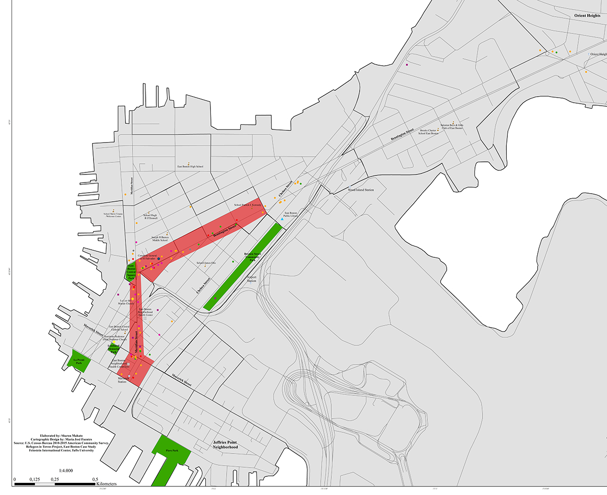 Spaces identified in East Boston supportive of integration. Map by author.