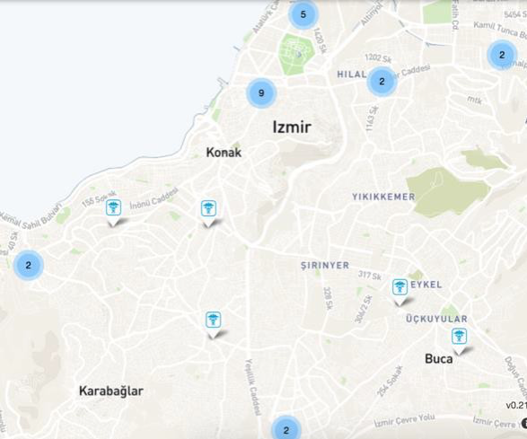 There are numerous medical centers across Izmir, but the waits are long, and virtually no medical professionals speak Arabic, requiring volunteers to accompany refugee patients. Map image from  UNHCR Services Advisor Client .