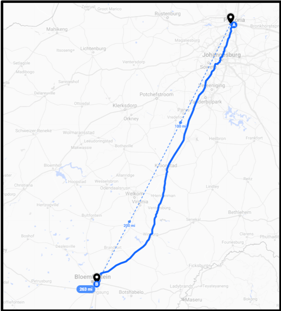 The journey from Bloemfontein to the registration office in Pretoria is over 250 miles (400 km), requiring a full day of travel and significant costs for bus tickets.  Base map imagery © Google 2019.