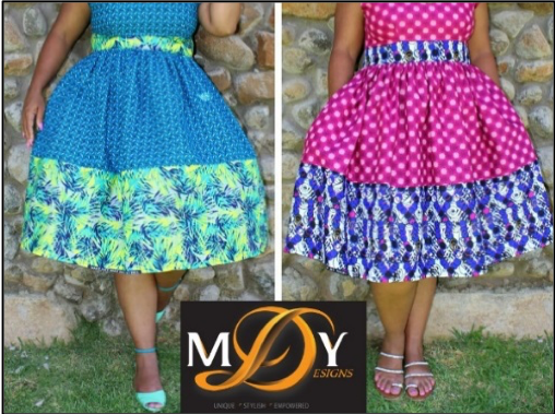 Outfits made from Nigerian and Basotho materials. Photo from the company owner, used with permission.