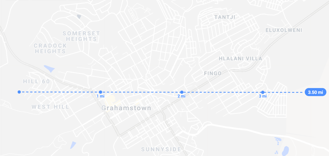 Makhanda (formerly Grahamstown as shown on map) is a small town with less than a 3.5 mi (5.6 km) diameter. Base map imagery © Google 2019.